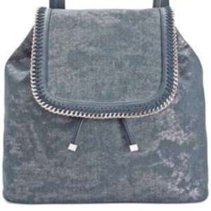 INC Denim Bailie Backpack Blue Metallic Silver